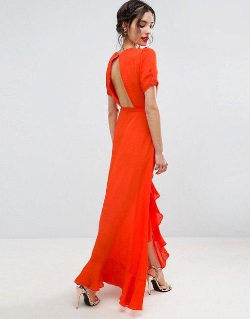 ASOS Orange Wrap Maxi Tea Dress w Ruffle Detail Open Cutout Back US 6 UK 10 #ASOS #MaxiDressWrapDress #PartyCocktail
