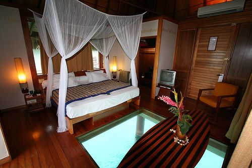 Glass floor in the bedroom, turn on a light under the hut at night and watch the fish.  Oh, yah, I need to go to Bora Bora someday.