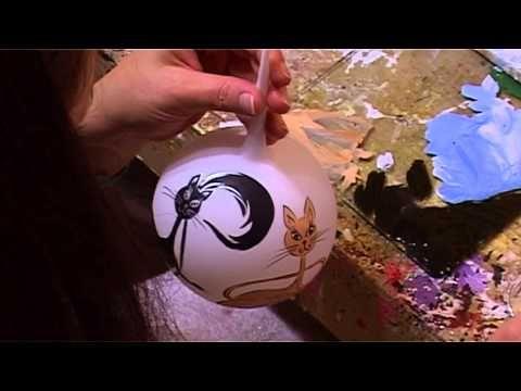 Bombki choinkowe - Hand made Christmas Balls - Koty - YouTube