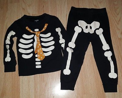 Gymboree 2T boys Pjs pajamas black skeleton Halloween 2 piece