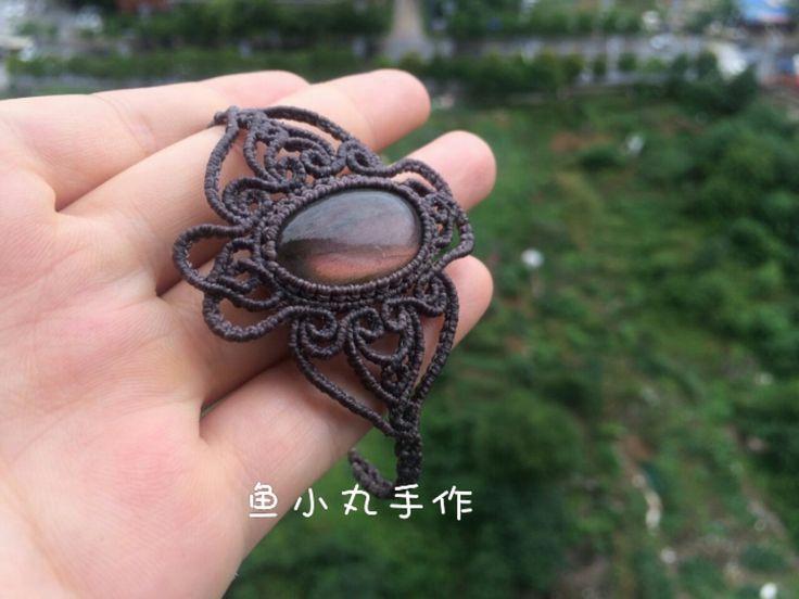 macrame bracelet purple  labradorite pendant jewelry