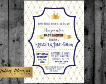 Prince Baby Shower Invitation. Royal Blue and Gold. Crown Baby Boy. Our Little Prince is on the way. Gold Glitter Chevron. Printable Digital