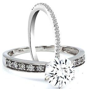 D/VVS1 Engagement Ring 2 Carat Round Cut 14K White Gold Bridal Jewelry + Band by JewelryHub on Opensky