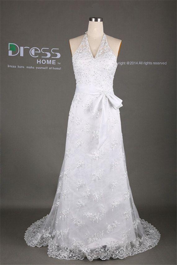 Elegant White Halter Sash Belt Lace Long Wedding Dress Beach Bridal Plus Size Gown Luxury Dresses For