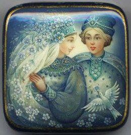 "Fedoskino. Russian Lacquer Art Titled ""The Date"" Artist E. Aldoshkina"