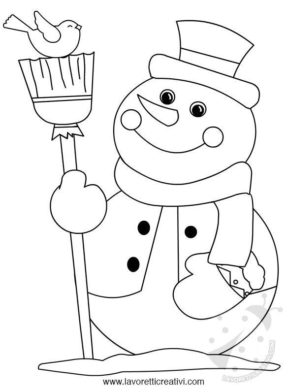 Immagini inverno da colorare Pupazzo di neve con scopa