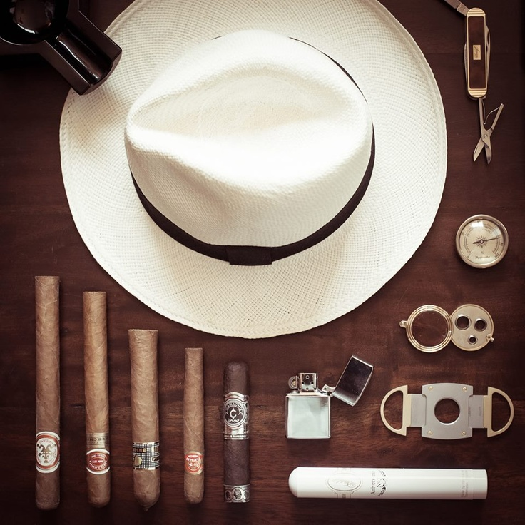 Panama hat, cigar, cutters, entire kit...