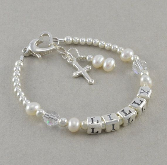 Baptism Bracelet, girls baby christening gifts, cross charm, personalize, first communion for goddaughter, white pearls, confirmation, LILLY
