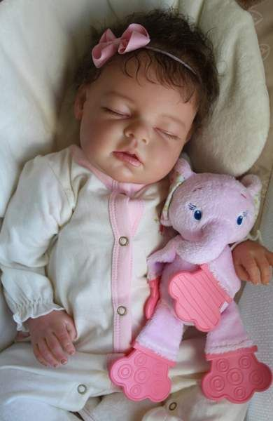 """CUSTOM Reborn Newborn Baby Girl Doll Noah By Reva Schick - Custom Reborn Baby From the """"Noah Asleep"""" sculpt by the very talented Reva SchickApproximately 20"""" long with 3/4 vinyl arms and full vinyl legsCustomer can choose:-Baby's gender-Hair color-Hair style-any birth marks-optional m..."""