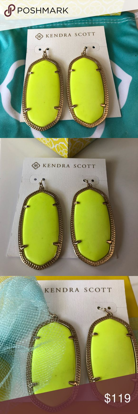 NWOT Kendra Scott Neon Yellow Danielle Earrings😊 These are the brightest ones out there! Never worn, these gorgeous neon yellow authentic Kendra Scott Danielle earrings in rich yellow gold are just fabulous! Comes with KS signature blue dust bag and cate card. Please no trades or lowballs😊 Kendra Scott Jewelry Earrings