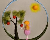 Children Mobile Waldorf inspired needle felted : Gnome and snail in a branch. $60.00, via Etsy.