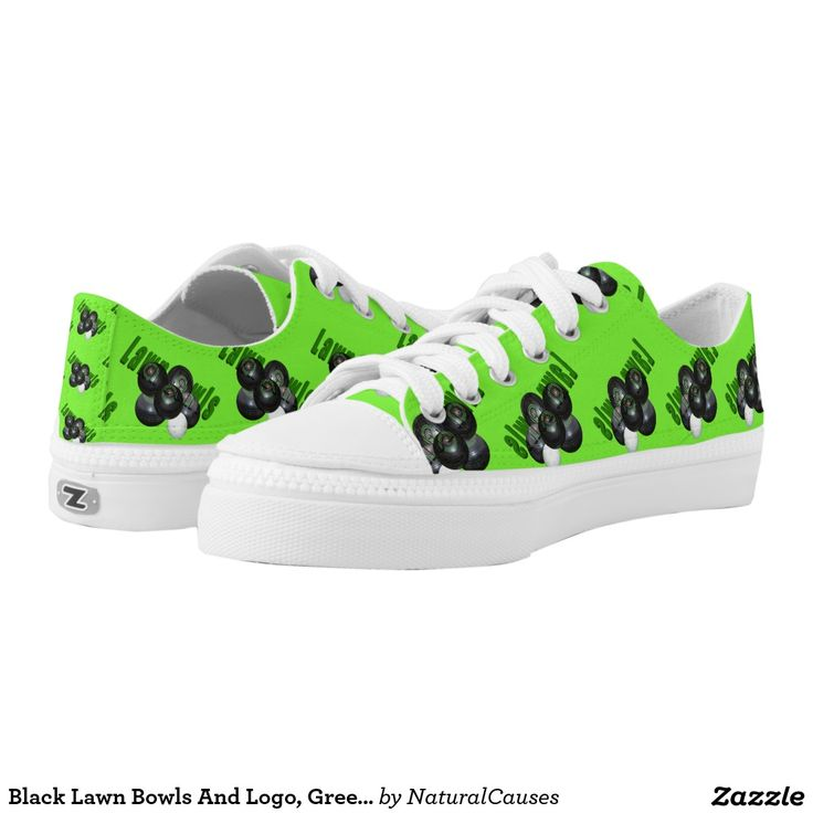 Black Lawn Bowls And Logo, Green Unisex Zips Shoes Printed Shoes