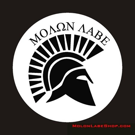 """Molon Labe Spartan Helmet Decal   The Ancient Greek phrase μολὼν λαβέ (molṑn labé; reconstructed Ancient Greek pronunciation [mo'lɔːn la'be]; Modern Greek pronunciation [moˈlon laˈve]) means """"Come and take them"""". It is a classical expression of defiance reportedly spoken by King Leonidas I in response to the Persian army's demand that the Spartans surrender their weapons at the Battle of Thermopylae. It is an exemplary use of a laconic phrase."""