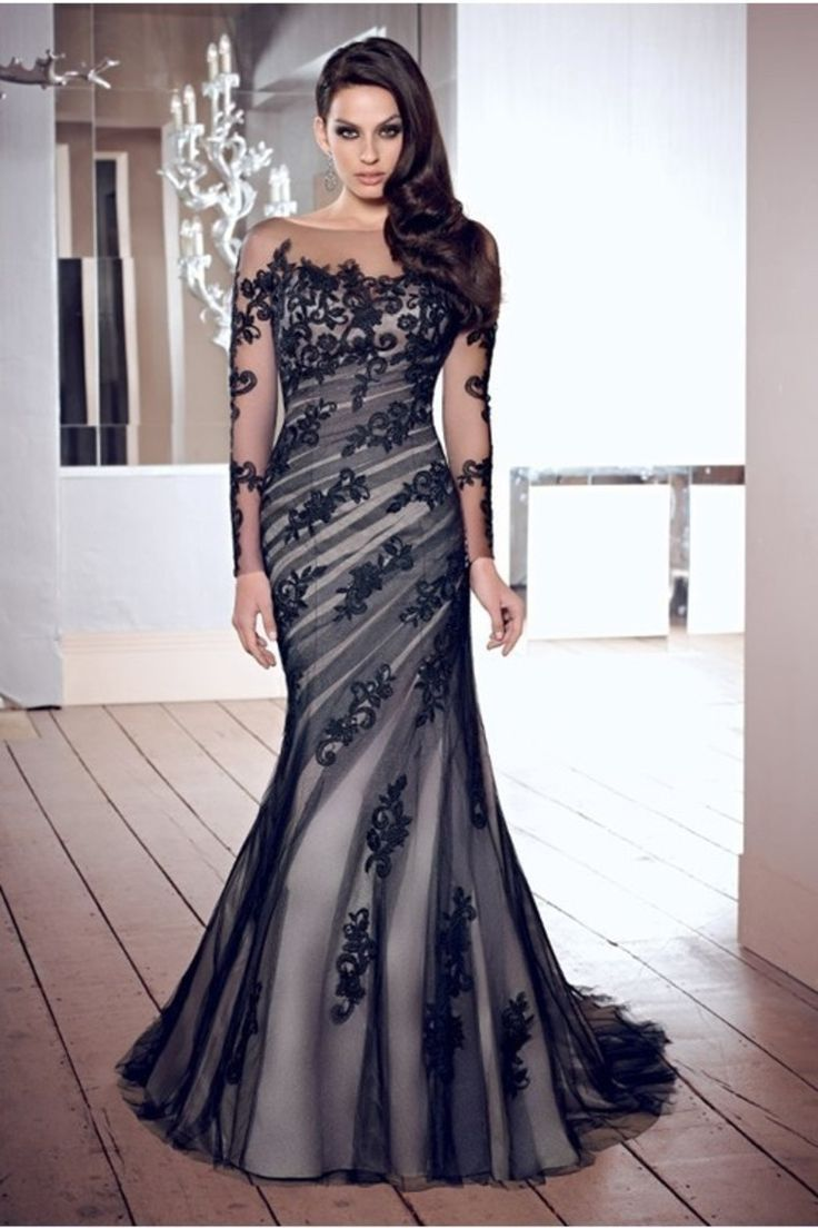 2014 New Arrival Mother Of Bridal Gown Mermaid Scoop V Back Court Train Black Tulle With Applique Under 200 USD 179.99 SUPMFBSPPT - SeasonMall.co.uk