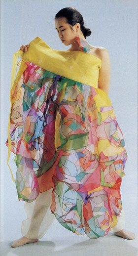 Pojagi (Korean patchwork) used in a dress. The patches are held together by a fine overcast seam