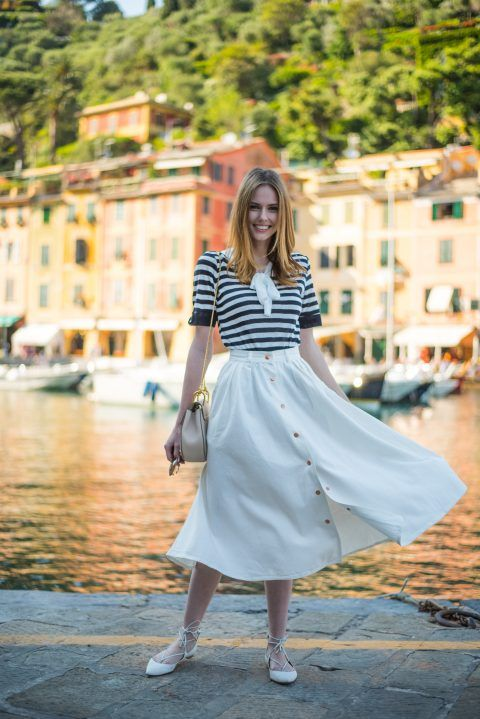 Alyssa Campanella The A List blog Miss USA 2011 Portofino Italy honeymoon Asos denim skirt Storets Blair striped top