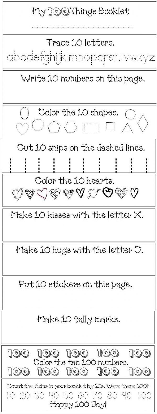"""100 Day activities:  FREE """"My 100 Day Flip Booklet"""" Read as a whole group then pause to have children complete that page. Children trim their pages, collate & staple into a mini flip booklet.  Could also send home to complete & return for your 100 Day celebration.  Fun way to count by 10s."""