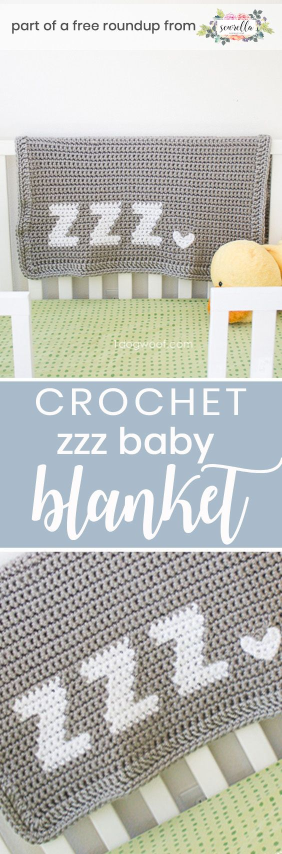 Get the free crochet pattern for this get some zzz's typography baby blanket from One Dog Woof featured in my gender neutral baby blanket FREE pattern roundup!