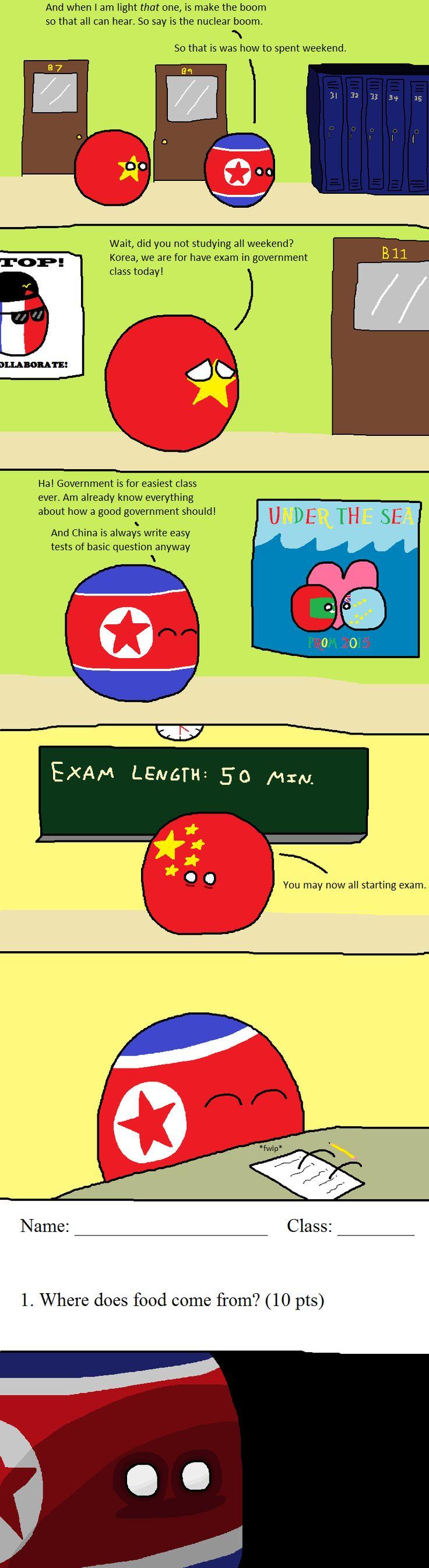 Exam Day (North Korea, Vietnam, China) by FVBLT #polandball #countryball