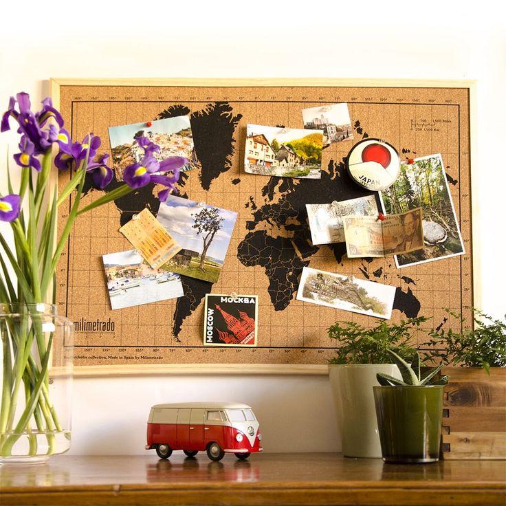 Ben jij ook graag creatief met kurk? Op deze handige wereldkaart prik je gelijk je mooiste foto's, ansichtkaarten en andere herinneringen #milimetrado #reizen