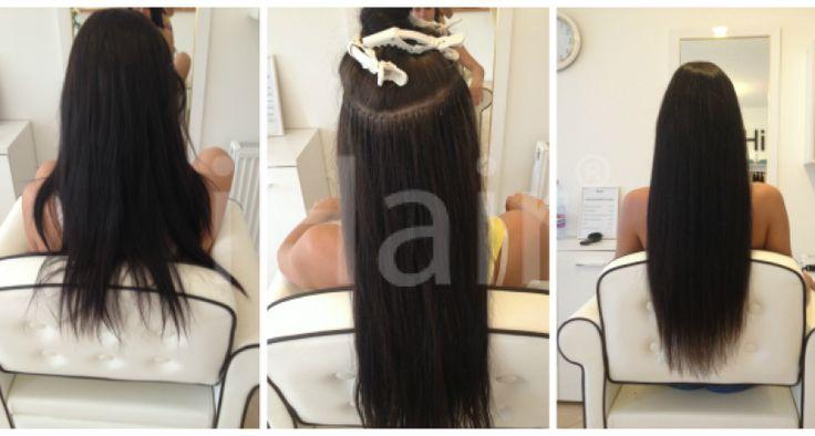 70 cm-es hajhosszabbítás keratinos hőillesztéses technikával 5-ös barna színű hajfesték alkalmazásával