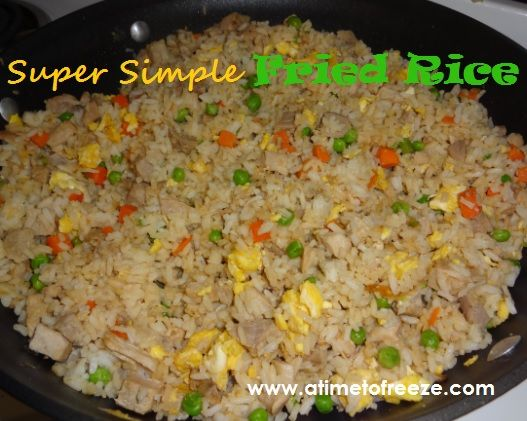Great recipe! Mine's EVEN SIMPLER: leftover rice, veggies, and meat from earlier in the week, already all in one container in the fridge. Chopped an onion and quick fry in oil, then push to the side. In center of same pan, scramble a couple of eggs.Last, dump the leftover rice, veggies, and meat on top, add a couple Tbsp. soy sauce, and stir until heated through. Yummy! Nearly instant dinner. :-)