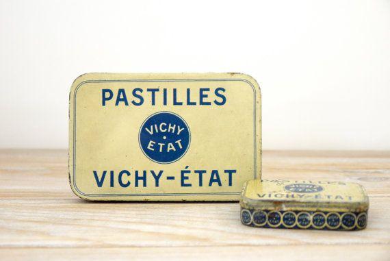 Oude metalen doos snoep Mint - vak druppels Vichy statuswaarden vakken metalen vintage blauwe en gele - oude verzamelbox