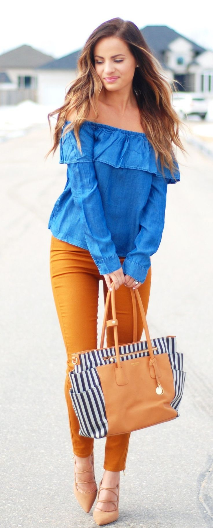 Blue Off The Shoulder Top & Camel Skinny Jeans & Striped Tote Bag