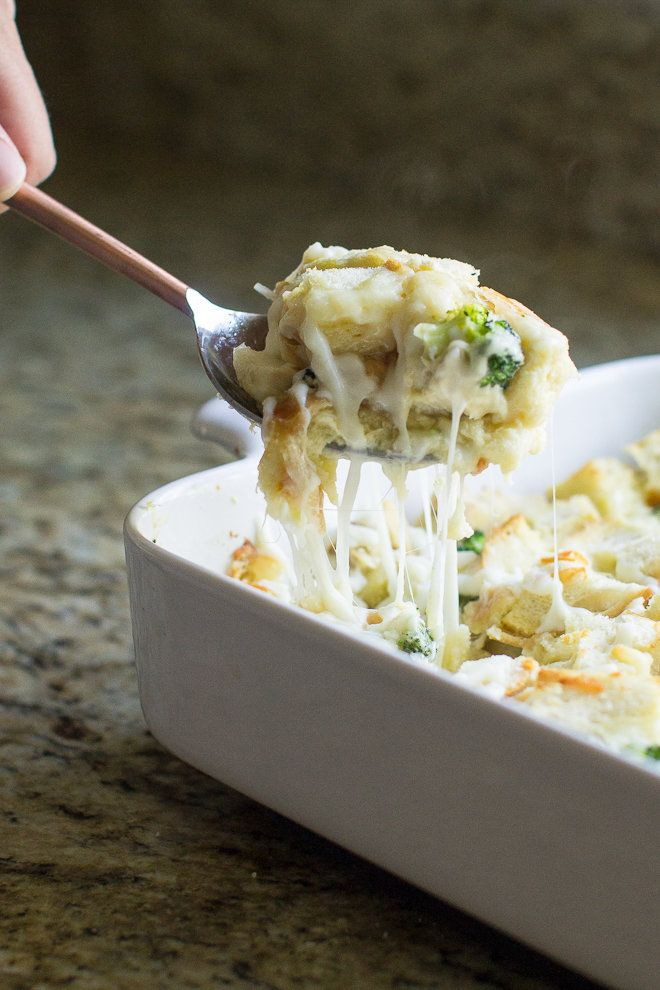 This cheesy Chicken Strata Recipe makes a great make-ahead dinner option! Put your stale bread and leftover chicken to work, then mix with broccoli and three kinds of cheese.