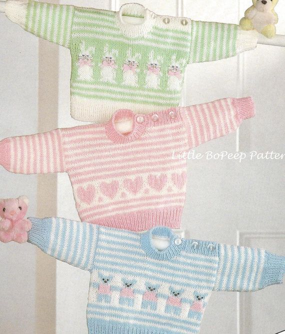 Baby Sweaters with Heart, Bear or Rabbit Motifs chest 16-18-20inches - PDF In three chest sizes 16-18-20 inches (40-45-50cm), using 4mm (UK 8) and 3.25mm (UK 10) knitting needles. Pattern uses charts for motifs. 1 x 100g UK Double Knitting or equivalent required. This PDF knitting pattern has been reformatted from a UK vintage knitting pattern to print on A4 size and the text is clean and clear. You will need Adobe Acrobat to open this file which you can get free from www.adobe.com…