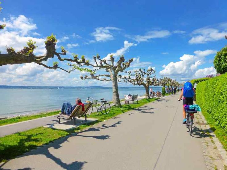 The 200-mile Bodensee-Radweg (bike route) clings to the banks of the Rhine River's Lake Constance through Germany, Switzerland and Austria.
