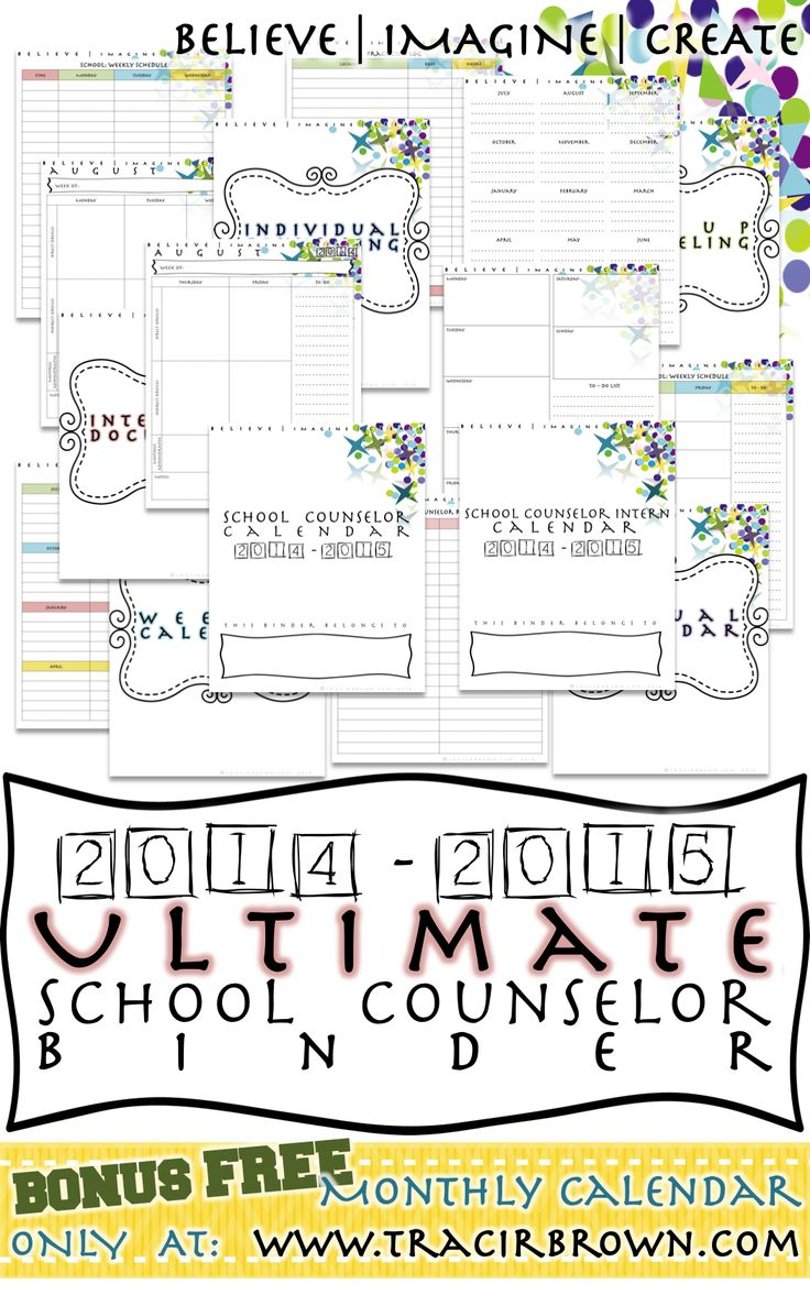 The Ultimate School Counselor Binder! 60+ pages of School Counselor Binder necessities! Offers beautiful light colors for easy ink printing. Also features pages for you interns as well! This has helped me stay organized tremendously!