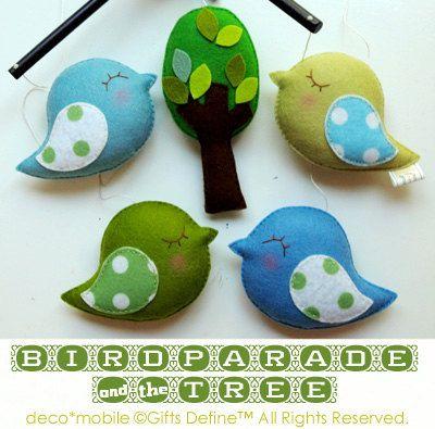 BIRD PARADE Baby Mobile with  Cute Tree (custom colors) - Modern Handmade Mobile for Creative Nursery or Playroom. $130.00, via Etsy.