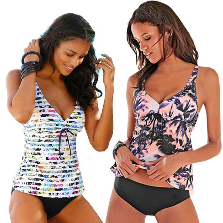 купальник 2019 Two Piece Tankini Swimsuits Women Swimwear Vintage Plus …