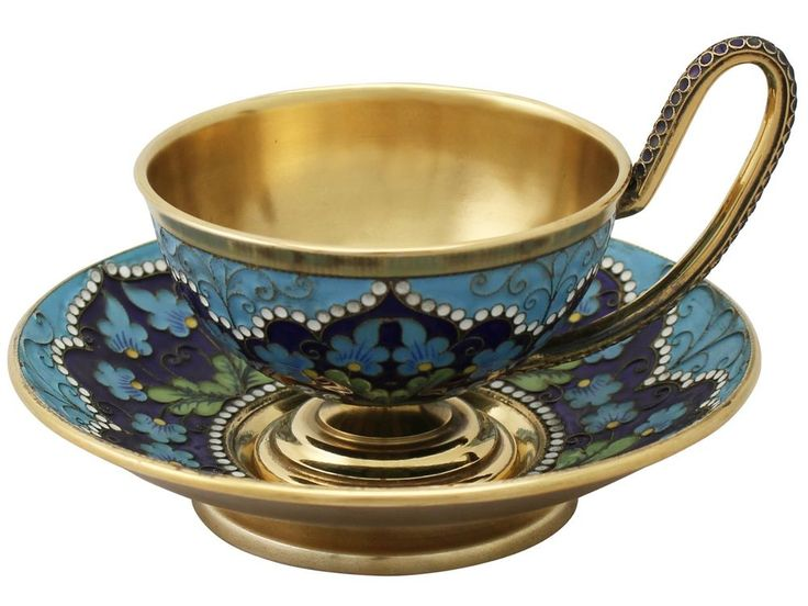 Vintage Russian Silver Gilt and Polychrome Cloisonné Enamel Cup and Saucer   eBay
