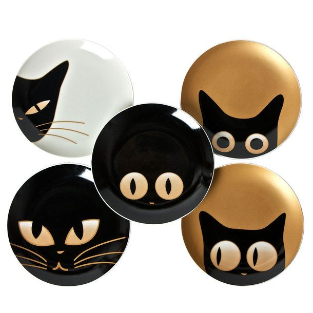 "Cat Eye 7.5"" Plate Set Of 5 (by Miya) - great idea for pottery painting, magnets, cards, icons..."