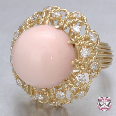 Vintage Angel Skin Coral Ring