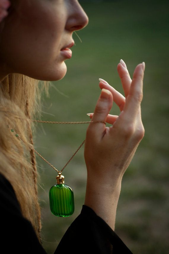 Green Perfume Bottle Pendant Necklace The by ForStrangeWomen