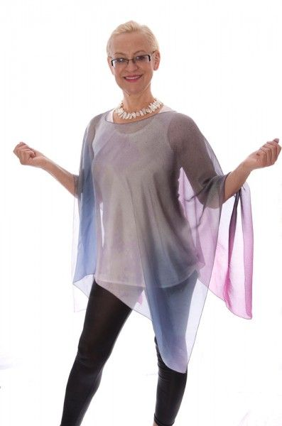 <p>Thin silk lavender ombre poncho.</p>