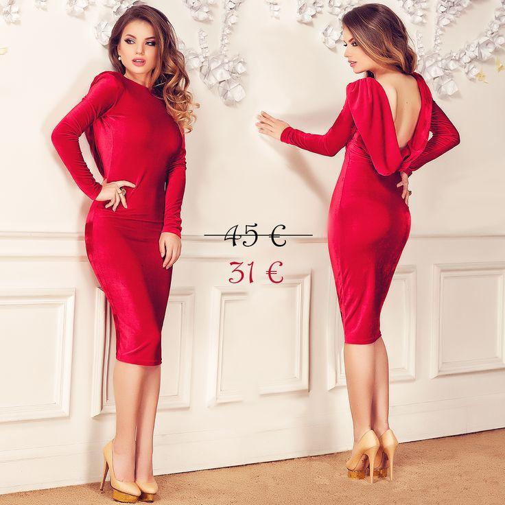 Red velvet dress with backless design with 30% off discount: https://missgrey.org/en/new-products/irissa-red-dress-/257?utm_campaign=martie&utm_medium=rochie_irissa_rosie_reducere&utm_source=pinterest_produs