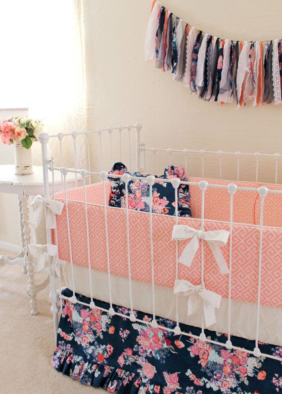 Navy Crib Bedding Baby Girl Bedding Navy Coral by LottieDaBaby