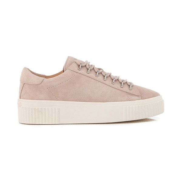Kendall + Kylie Women's Reese Suede Trainers (£155) ❤ liked on Polyvore featuring shoes, sneakers, beige, chunky sneakers, low top, low top platform sneakers, platform trainers and platform shoes