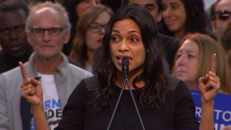Actress Rosario Dawson says the Democratic National Committee's super-delegates process is designed to weaken grass-roots campaigns like Bernie Sanders'.