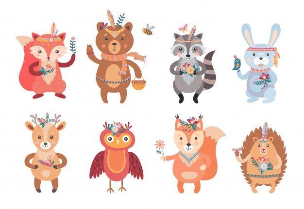 Lade Cartoon Boho Tiere Eingestellt Kostenlos Herunter Giraffe Illustration Panda Illustration Squirrel Illustration