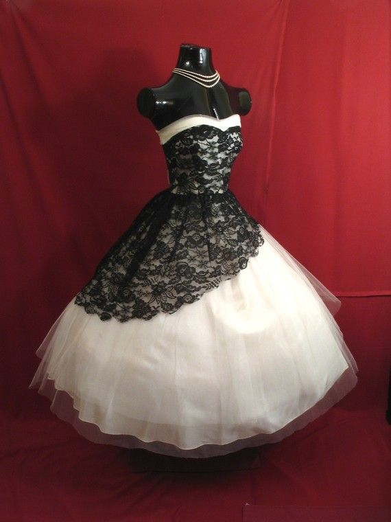 Black and white lace tulle dress