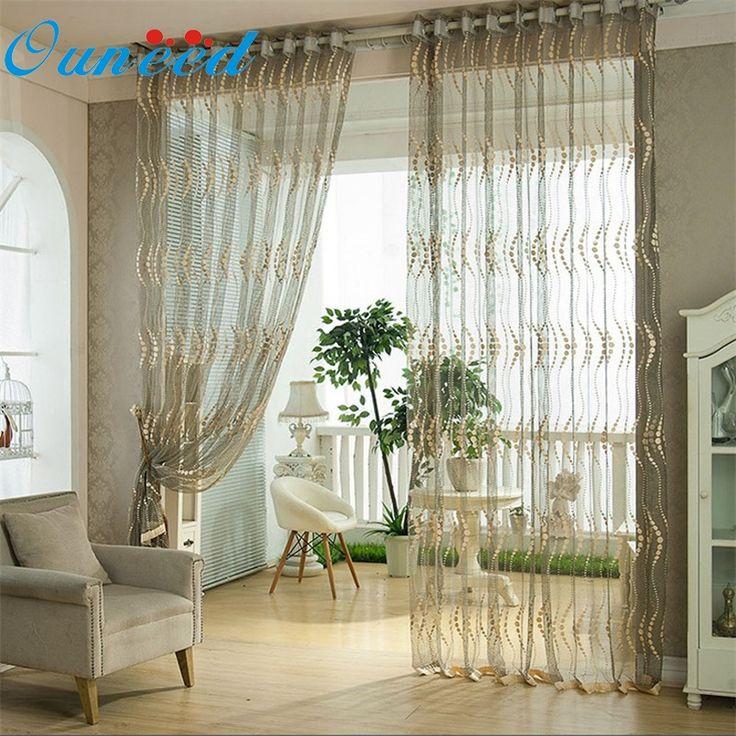 Ouneed 200cm X 100 Cm Pierced Tulle Door Window Curtain Drape Panel Sheer Scarf  Valances* Part 35