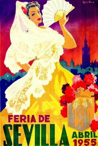 Vintage poster for La Feria de Sevilla 1955, via  lamarisma.com
