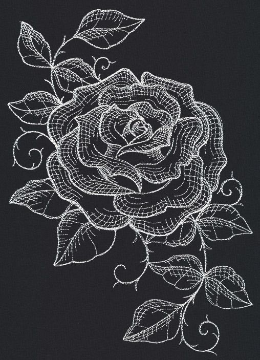 RQQ™ 2 White sketch rose on black  embroidered fabric quilt block squares