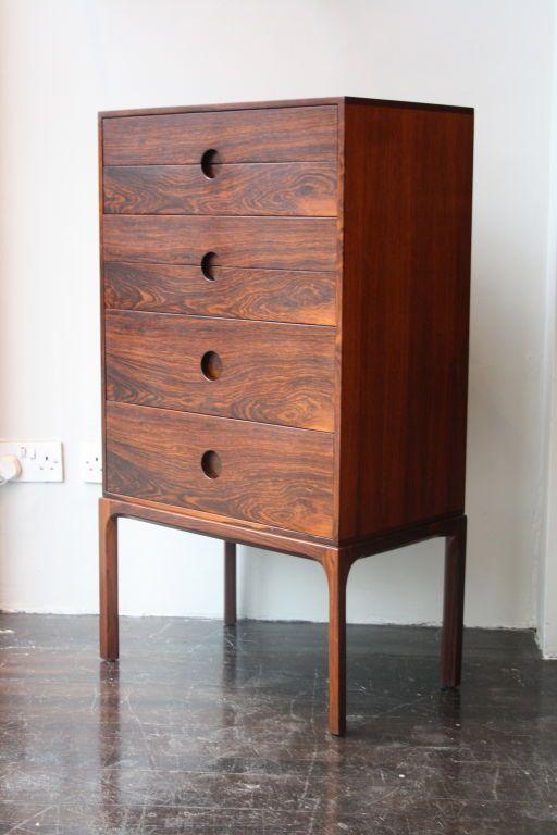 Axel Kjaersgaard; Rosewood Tallboy,1950s. Love that minimalist, recessed pull..
