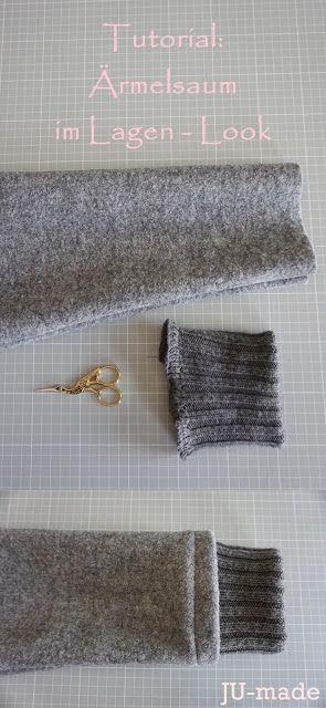 JU-made: Nähen + DIY: Oversize Walkmantel mit Ärmelsaum im Lagen - Look